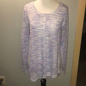 Sky blue asymmetrical cut long sleeve shirt, small